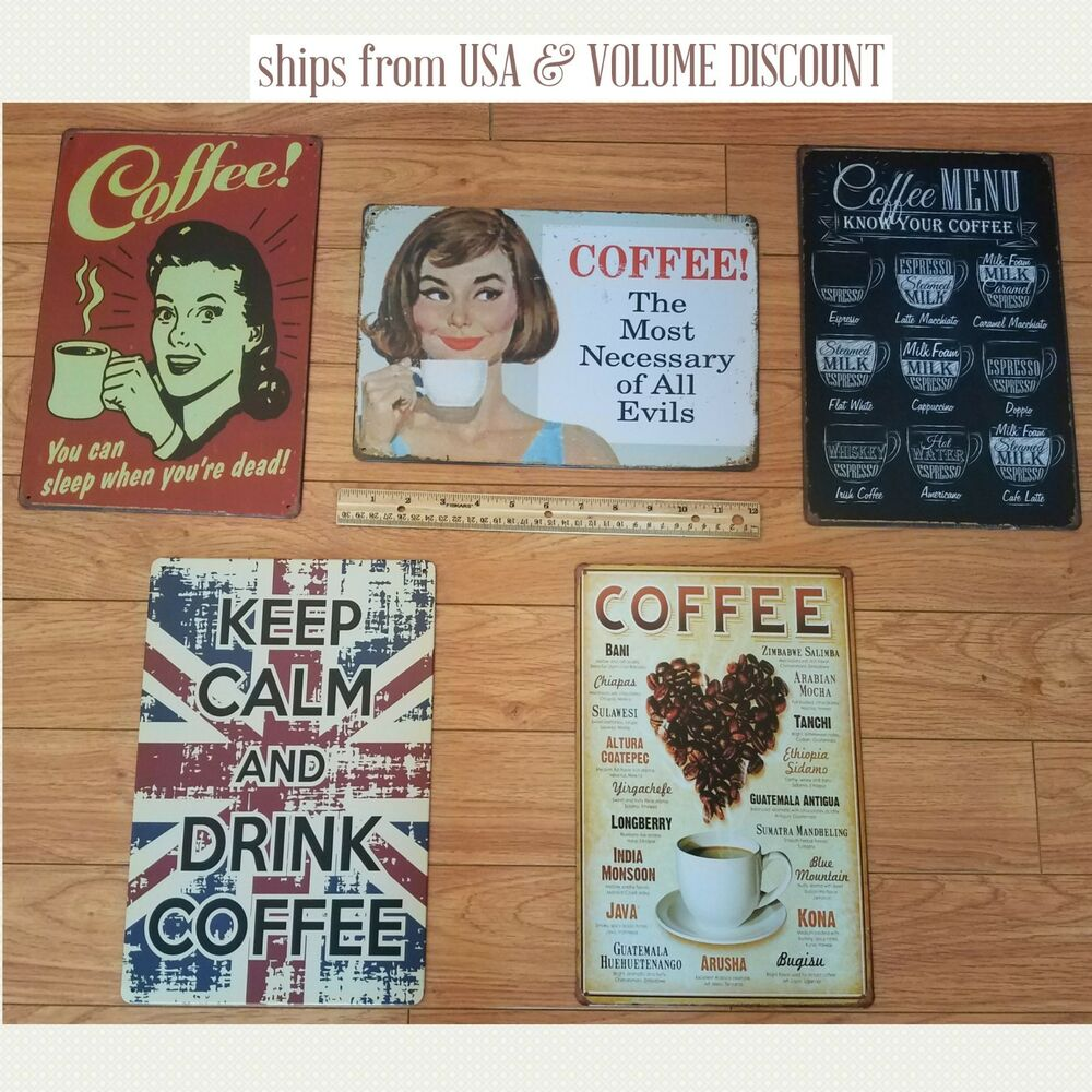 Attirant Details About COFFEE Tin Signs Coffee Kitchen Signs Metal Coffee Shop Sign    Vintage Metal Art