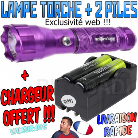 img-► LAMPE TORCHE 3500 LUMENS LED CREE T6 FLASHLIGHT PUISSANT + 2 PILES + CHARGEUR