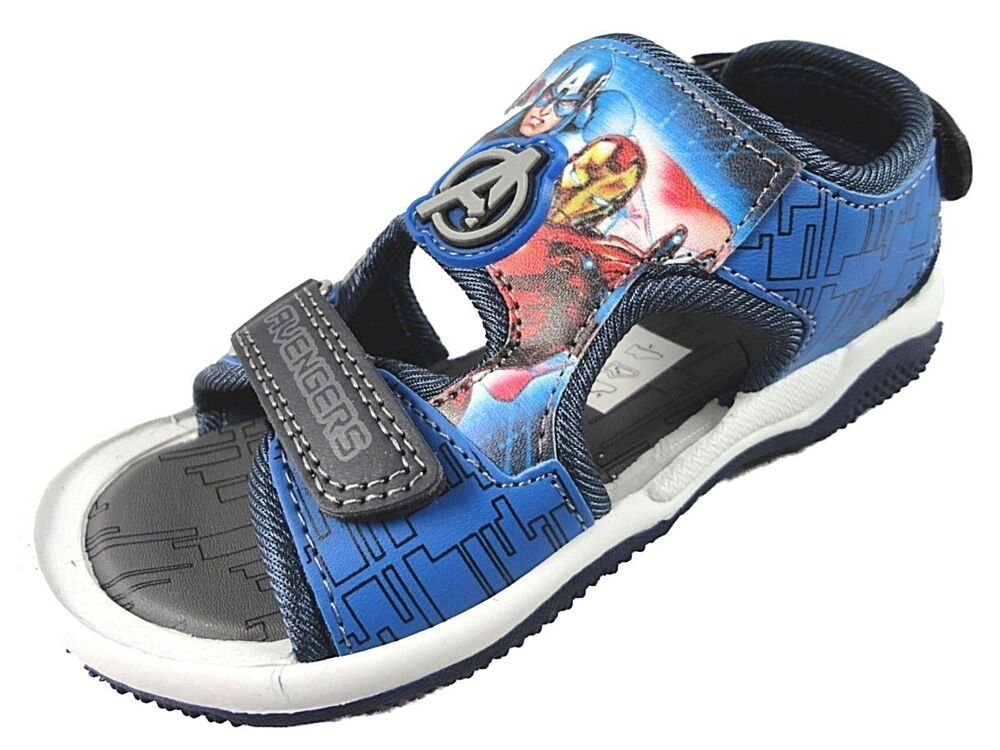 b86cfb6f7 Details about Boys blue Marvel Avengers Childrens Beach Walking Sport  Sandal Shoes
