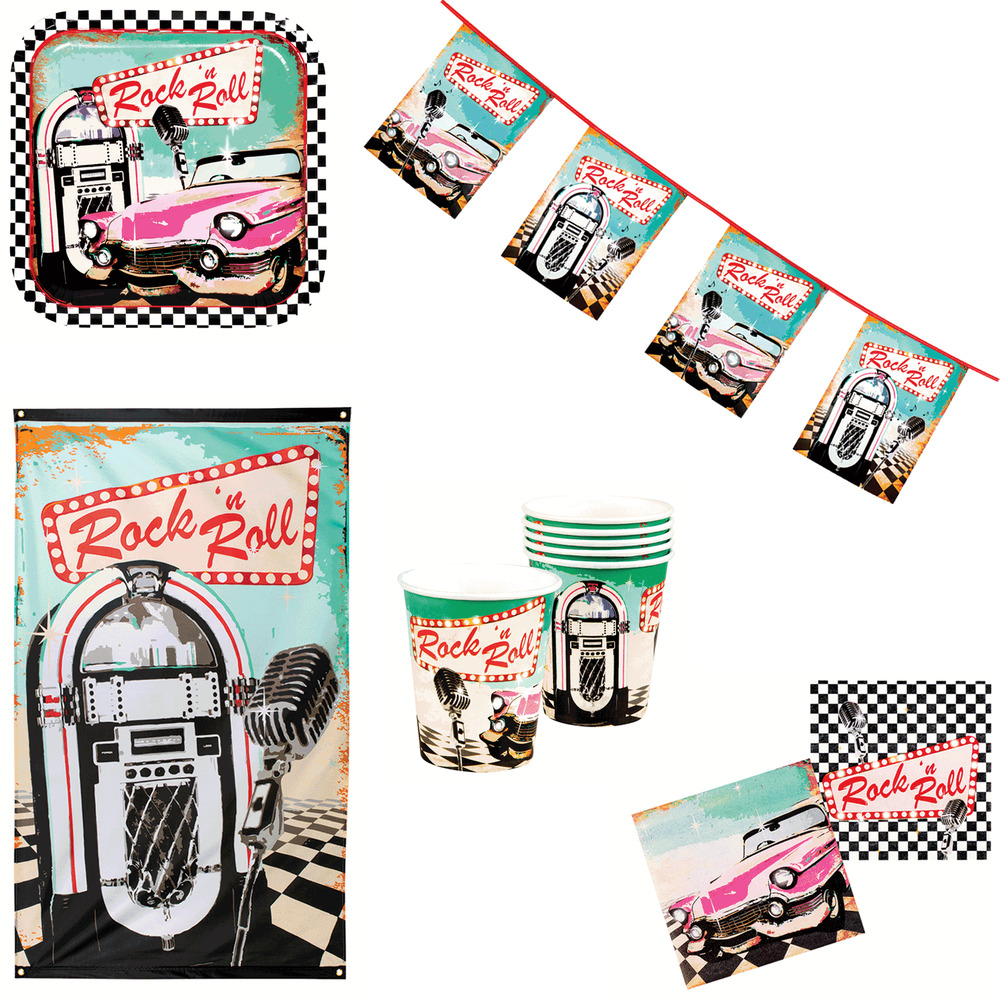 Rock N Roll American Diner Themed Birthday Party Event Tableware Decorations