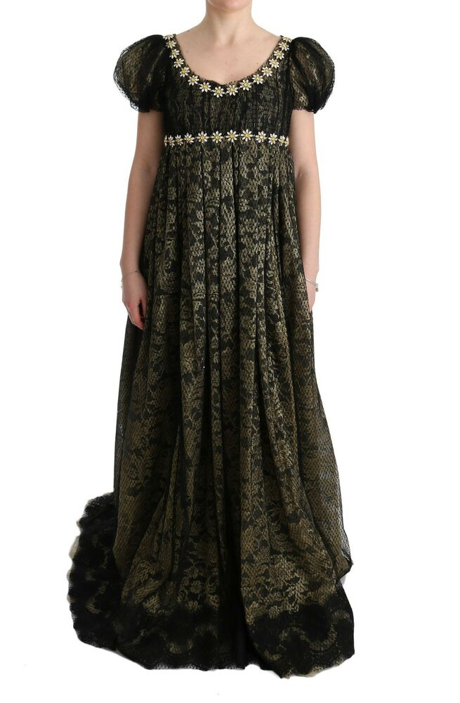 d32f3323161 Details about NEW  17400 DOLCE   GABBANA Dress Black Yellow Crystal Lace  Shift Gown IT40   US6
