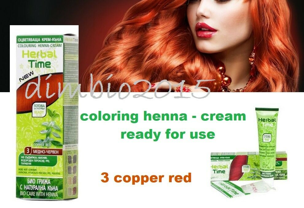 Copper Red Herbal Time 100 Natural Coloring Henna Cream Dye Ready