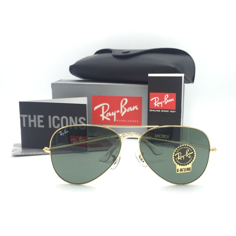 79cba33871 Details about New Ray-Ban RB3025 L0205 Gold Classic Aviator Sunglasses G-15  Green Lenses 58mm
