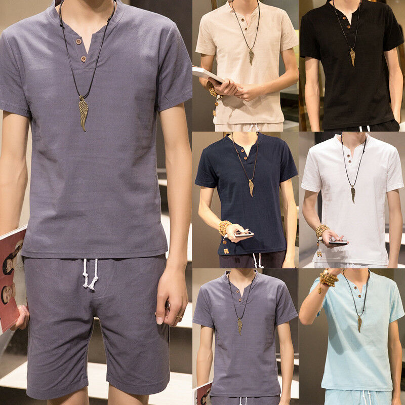 402dddb8fc9 Details about Mens Summer V-Neck Beach Yoga Tee Tops T-Shirt Cotton Linen  Thai Hippie Shirt Y1