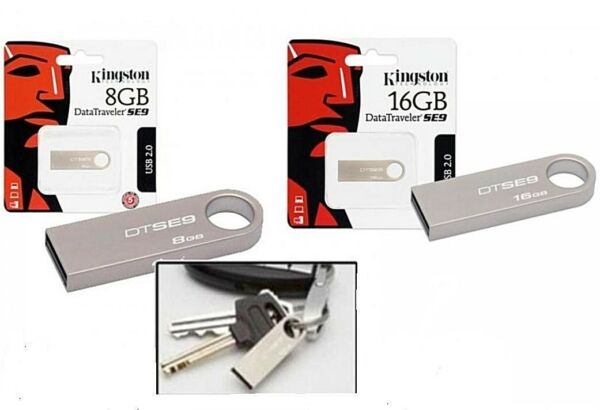 CHIAVETTA USB KINGSTON 8 O 16 GB PENNETTA SE9 DATATRAVELER METALLO MEMORIA PEN