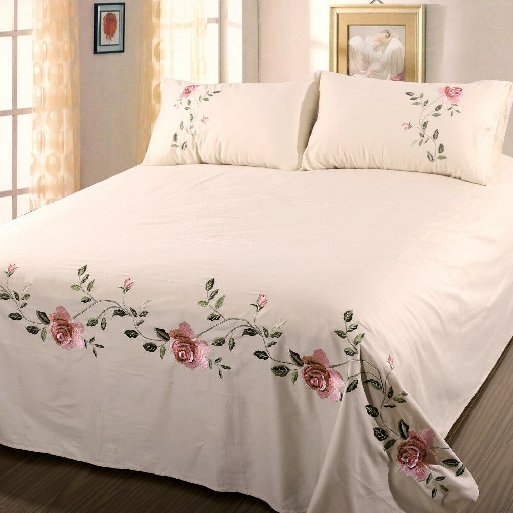 Details About Bed Sheet 2 Pillowcases Embroidered Fl Traditional Pure Cotton Cover