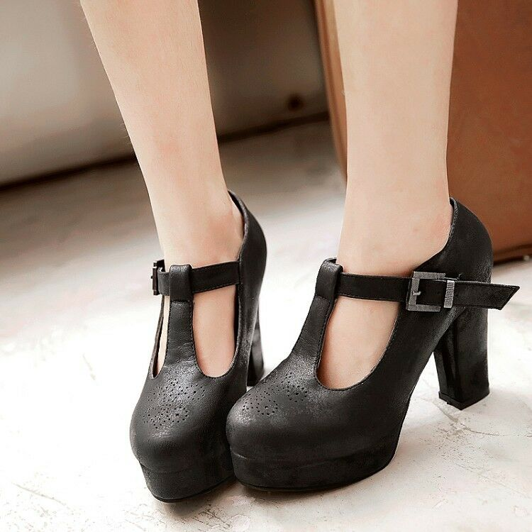 451699408e5 Details about High Platform Block Heel Sandal Ankle Strap Women s Round Toe  Chunky Shoes Size
