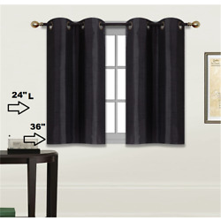 2 SOLID SHORT GROMMET PANELS WINDOW CURTAINS FOR ANY ROOM 24'' OR 36'' LENGTH