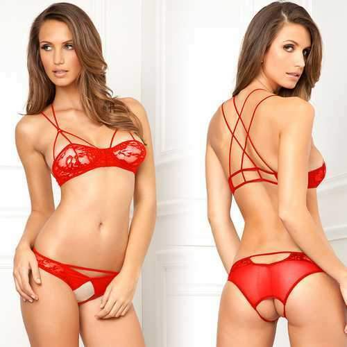 a635d0e858f Details about 2pc Lace Bra   Crotchless Panty Red S M