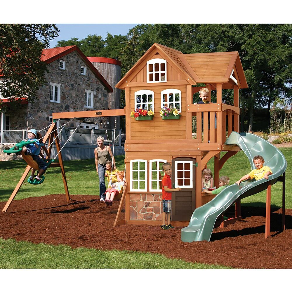 Summerstone Cedar Summit Playset Swing Set Kids Playground New Rock