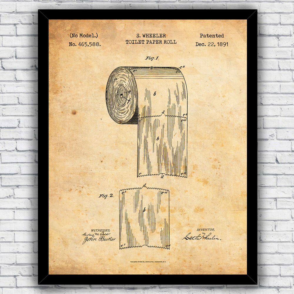 Toilet Paper Roll Patent Design - wall art print (w/ optional frame ...