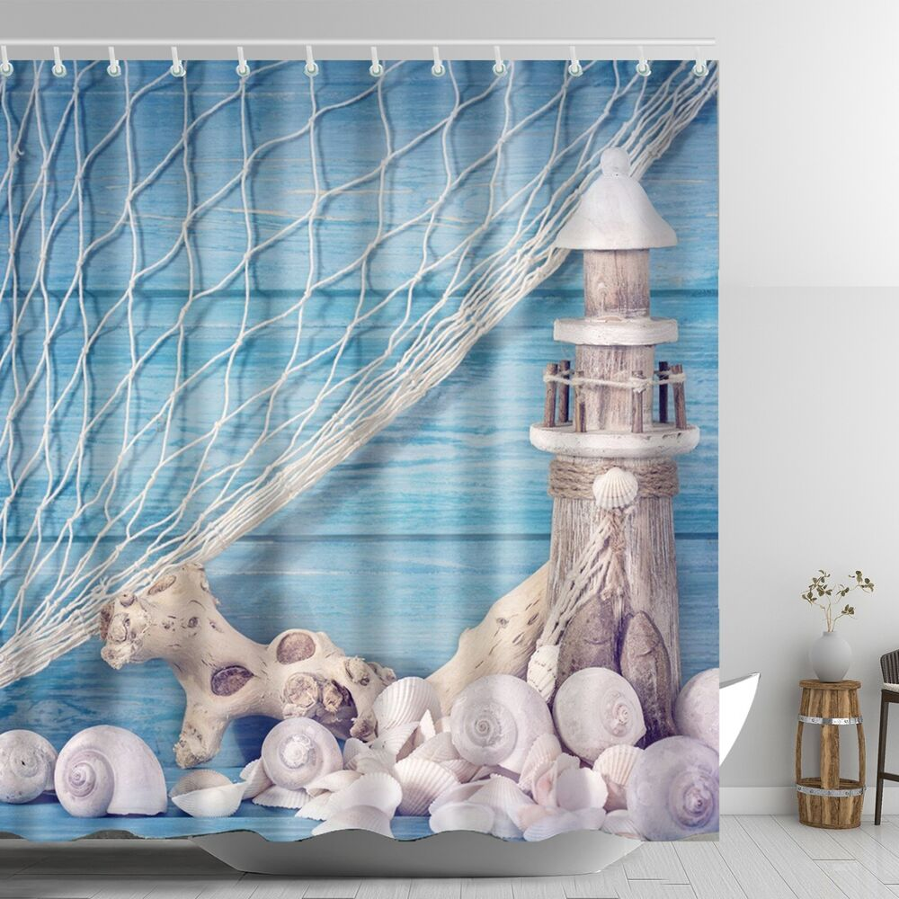 Lighthouse Shower Curtain Seashell Conch Wooden Dock