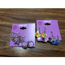 New Claire's 2 Sets of Girls Pierced Costume Earrings