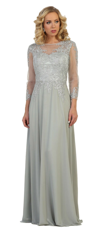 78f9558fb48 Details about LONG CHURCH GOWN MODEST MOTHER of BRIDE GROOM FORMAL EVENING  DRESS   PLUS SIZE