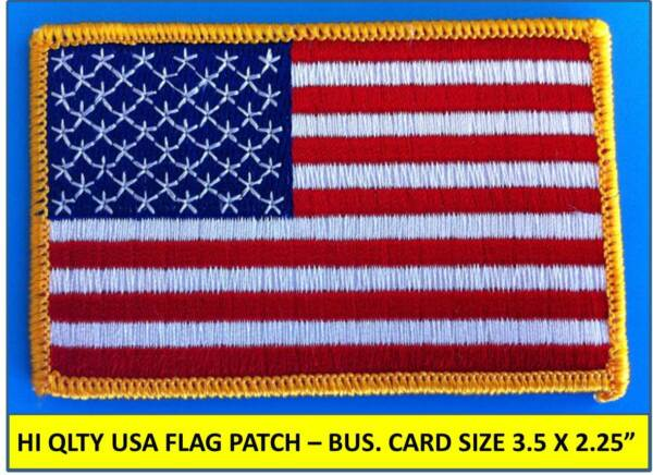 "USA AMERICAN FLAG EMBROIDERED PATCH IRON-ON SEW-ON GOLD BORDER (3½ x 2¼"")"