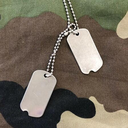 img-US GI World War 2 American Army Style Stainless Steel Notched Dog Tags x 1 Pair
