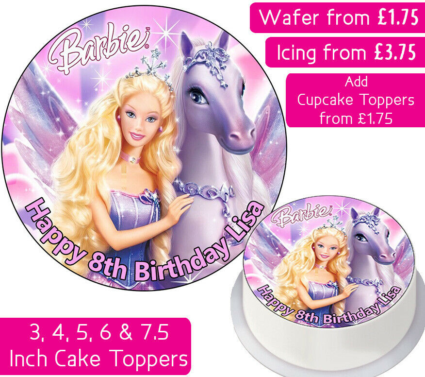 Details About BARBIE PEGASUS EDIBLE WAFER ICING PERSONALISED CAKE TOPPERS BIRTHDAY PARTY