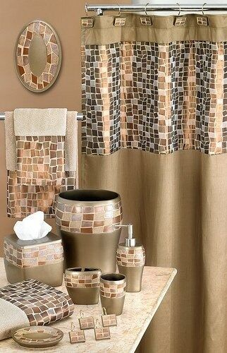 mosaic stone fabric shower curtain bronze gold ebay. Black Bedroom Furniture Sets. Home Design Ideas