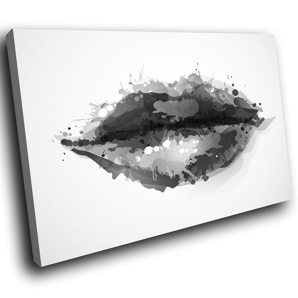 Details about ab340 black white lips cool modern abstract canvas wall art large picture prints