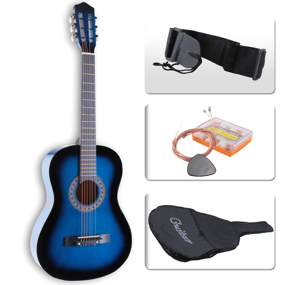 kuppet acoustic guitar beginners 38 nylon case strap tuner pick steel strings 699993161883 ebay. Black Bedroom Furniture Sets. Home Design Ideas