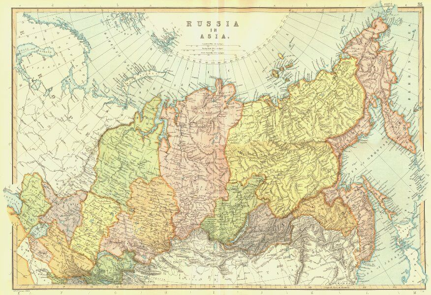 Map Of Russia In Russian.Asian Russia Siberia Provinces Scale In Russian Versts Blackie