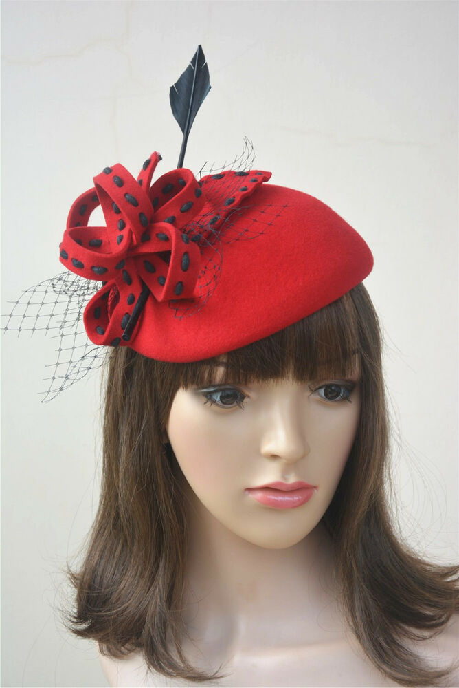 a221f94b50e Details about Arrow Quill Womens Felt Wool Fascinator Cocktail Formal Race  Ascot Hat A196