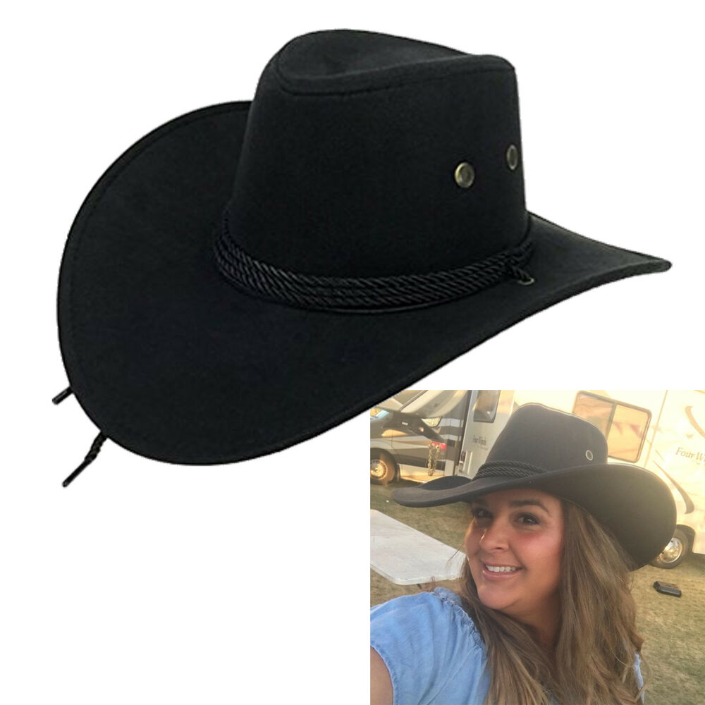 b1cbaec9db8cf Details about Men Women Faux Felt Western Cowboy Hat Fedora Outdoor Wide  Brim Hat with Strap