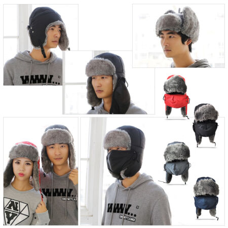img-Winter Warm Earflap Fur Cap Ushanka Aviator Trapper Trooper Ski Hat + Mask
