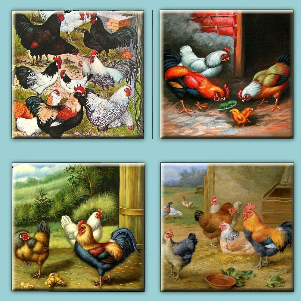 Set of 4 Ceramic tile magnet refrigerator Rooster Hens and Chickens ...