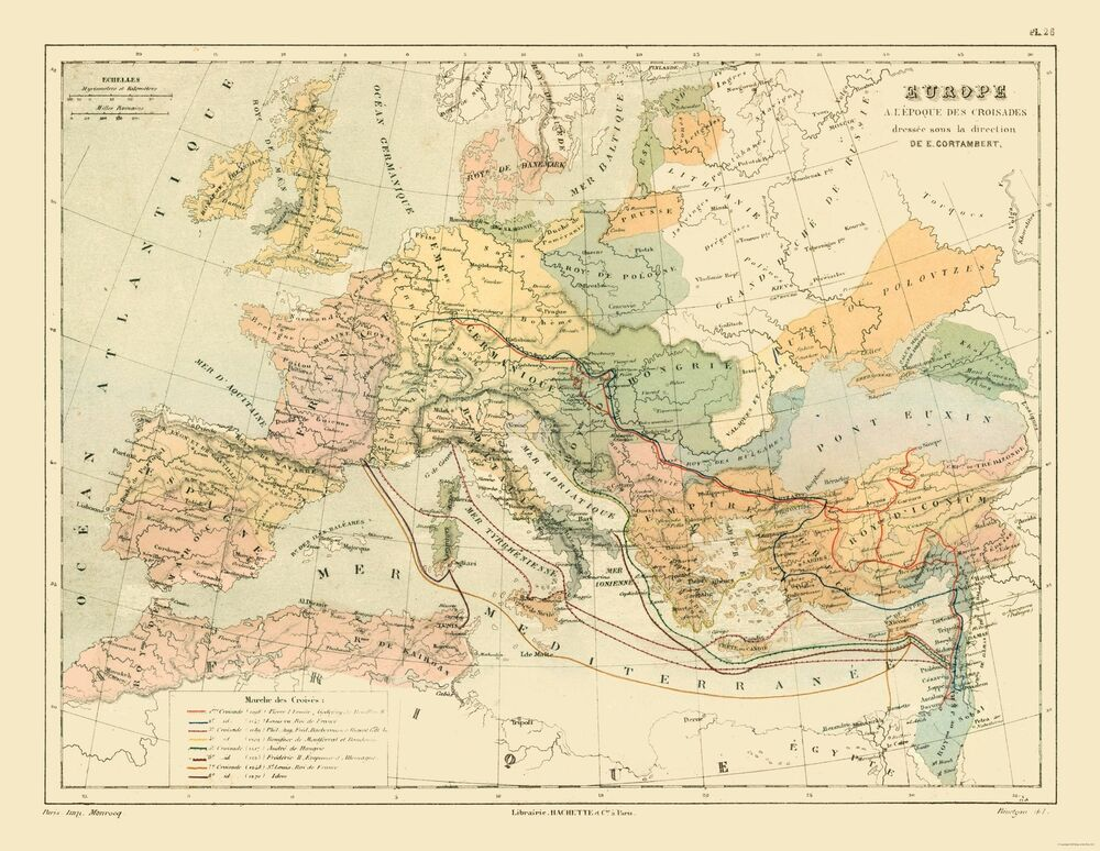 International Map Europe Crusades Contambert 1880 29 71 X 23
