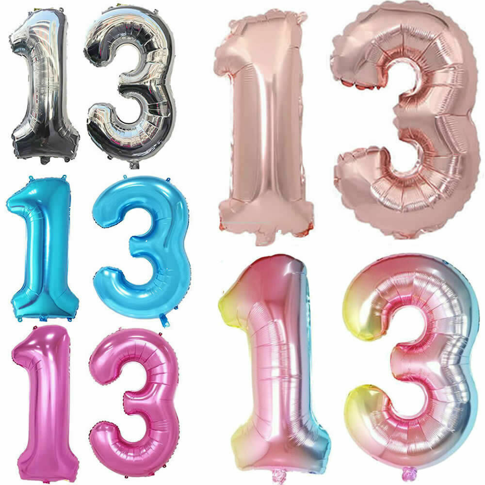 Details About 3240 Giant 13th Birthday Party Number Foil Air Helium Balloons Banner Decor