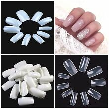 FULL COVER Press On Square Nail Tips **YOU CHOOSE!** Natural, Clear & White