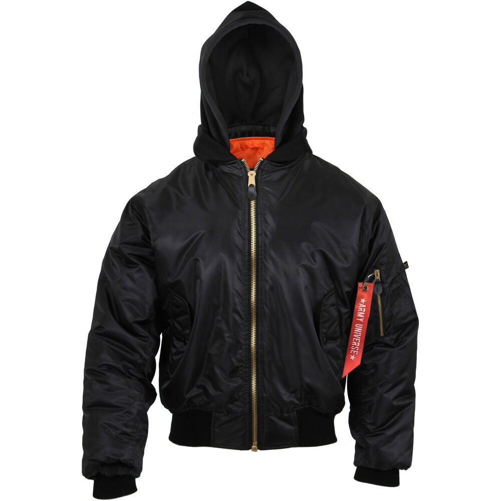 Details about Hooded MA-1 Flight Jacket   Streamer Black   Orange Bomber  Coat Air Force 586605073df