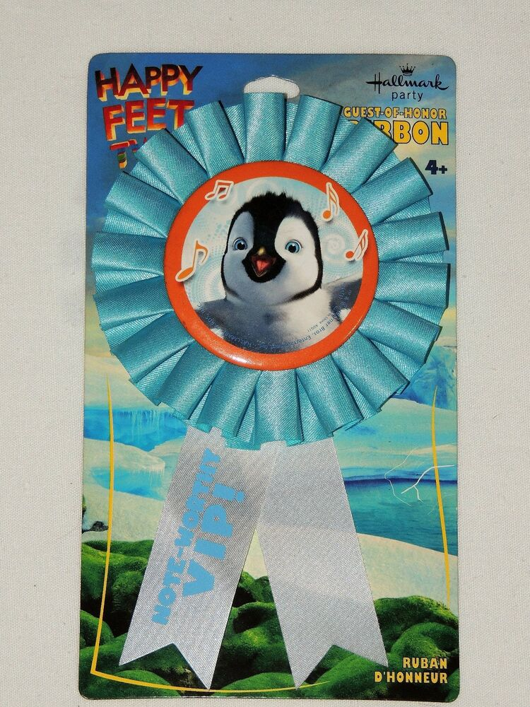 HAPPY FEET TWO 1 GUEST OF HONOR RIBBON BIRTHDAY CHILD PARTY SUPPLIES