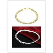 New Women Jewelry 925 Sterling Silver Plated Beads String Chain Bracelet gifts