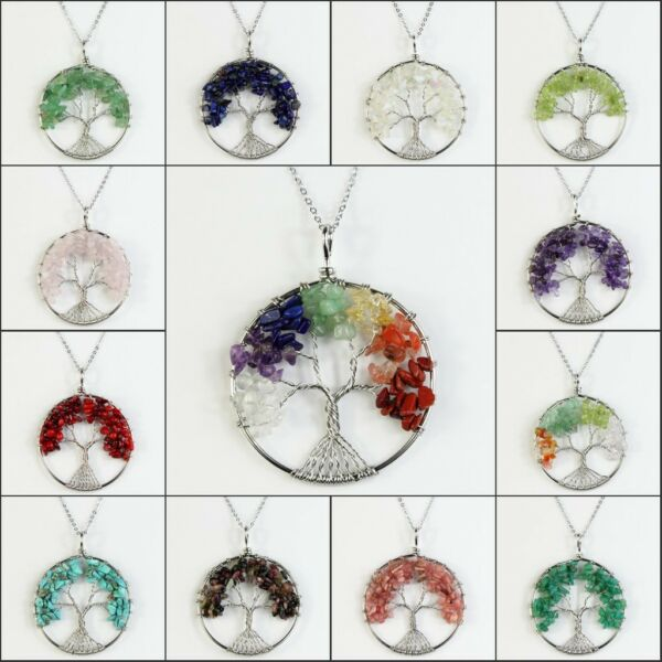 Natural Gemstones Chips Beads Tree of Life Silver Round Pendant Chain Necklace