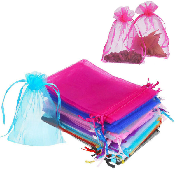 100x Sheer Organza Wedding Party Favor Gift Candy Bags Jewelry Pouches 3x4