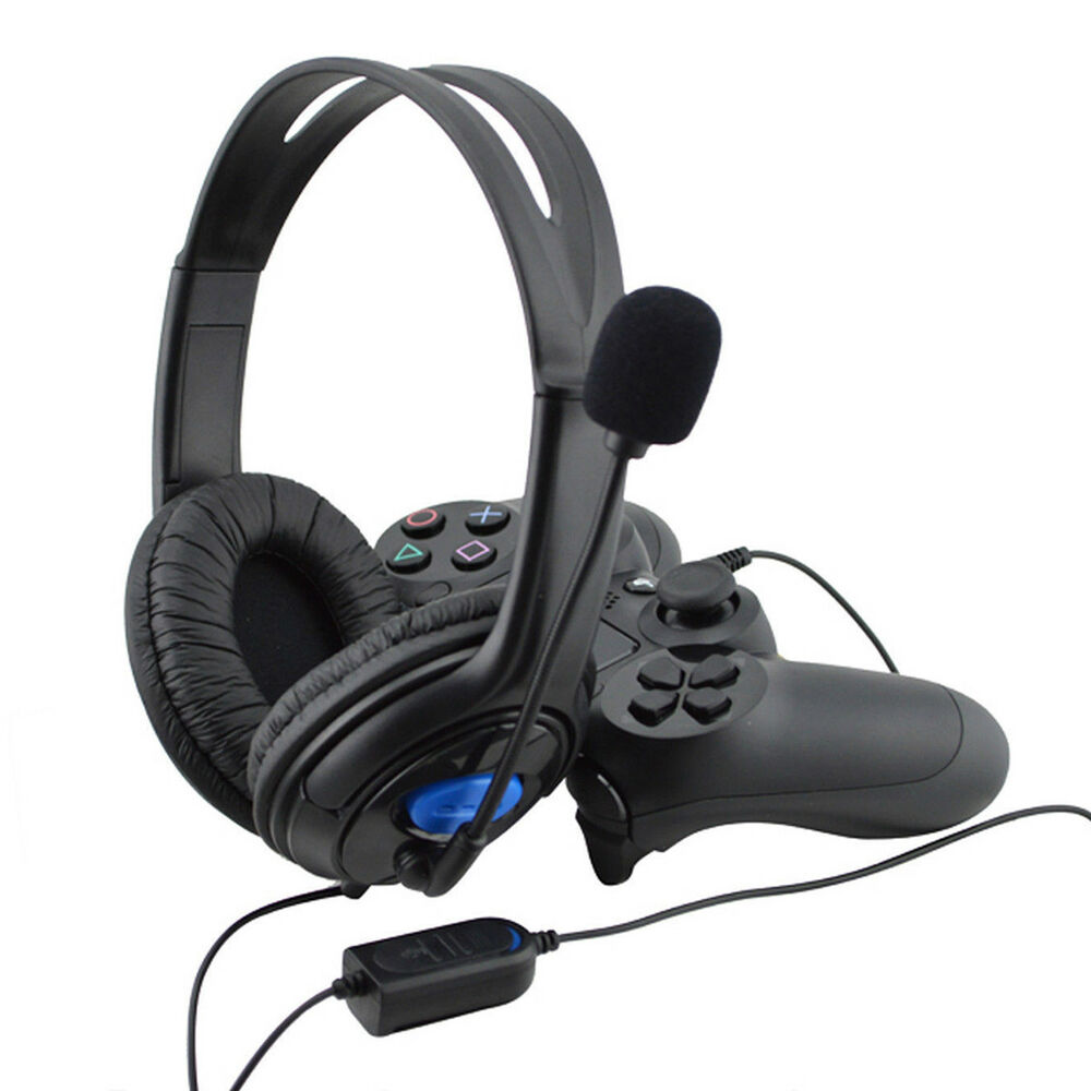 wired gaming stereo headset headphone with microphone for sony ps4 playstation 4 ebay. Black Bedroom Furniture Sets. Home Design Ideas
