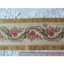 Antique (1870) French Roses & Ribbons Silk Border Fabric~2yds28
