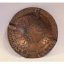 8MA51 ANCIENT GREEK ATTIC POTTERY REPRODUCTION COPPER ASHTRAY head of Athena