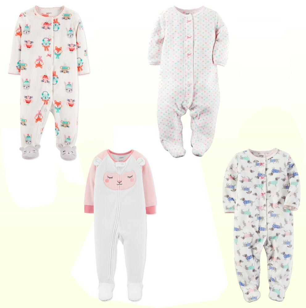a8821e47bdc5 Pajama Carter s Baby Girls Long Sleeve One Piece - Sleeper ...