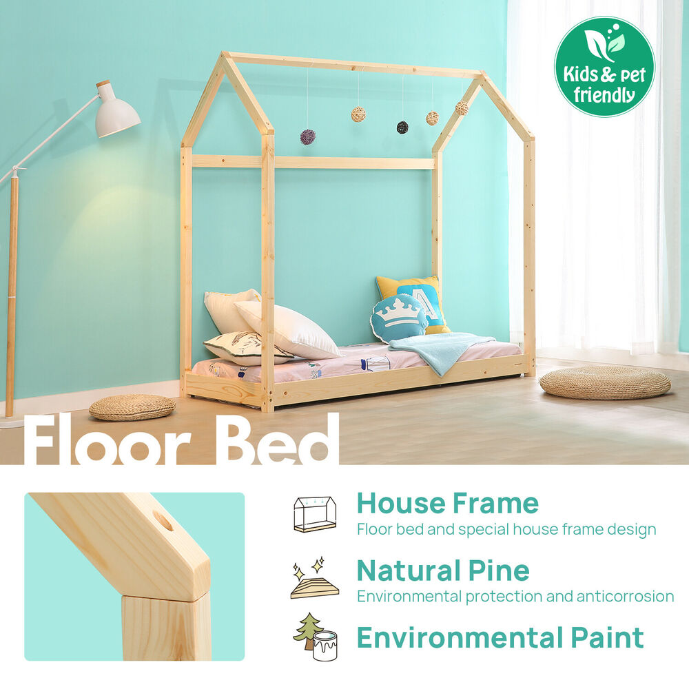 Details about Twin Size Bedroom Furniture Premium Wood Children House Bed Frame Tent Bed & Twin Size Bedroom Furniture Premium Wood Children House Bed Frame ...