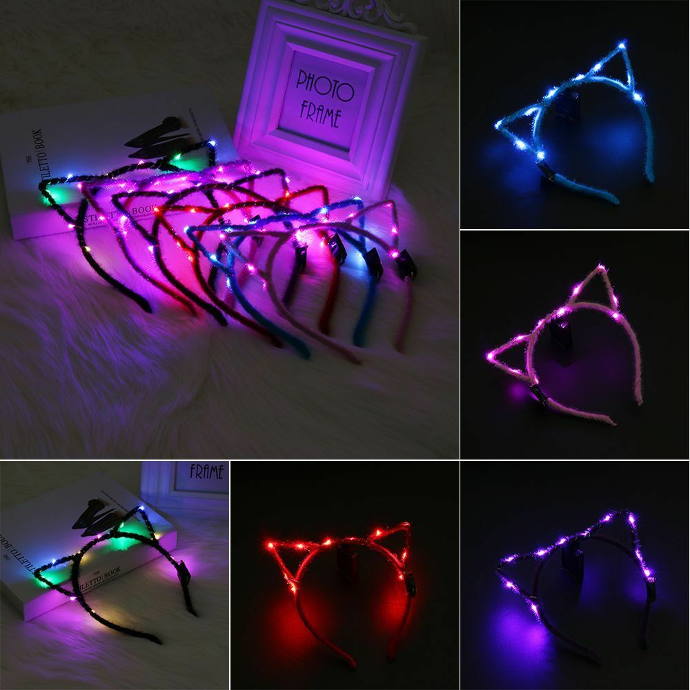 cool cosplay style led cat ear hair band headband light-up wedding party |  ebay