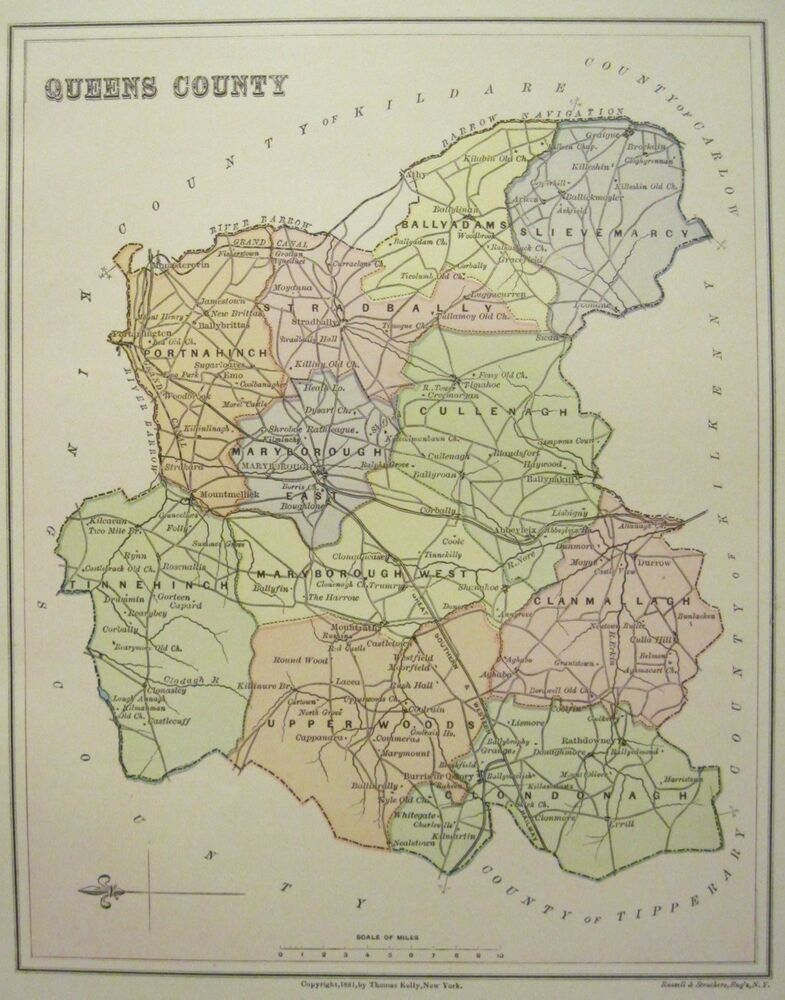 Map Of Ireland Midlands.Irish Map Queens County Laois Laoix Baronies Ireland Midlands Thomas