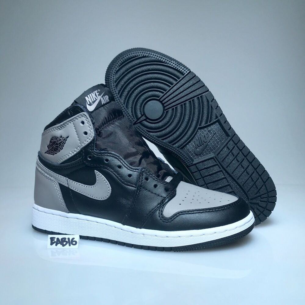 new style 6037e c6e0b Details about Nike Air Jordan Retro 1 OG BG Shadow Black Grey 575441 013  Gray Grade School GS