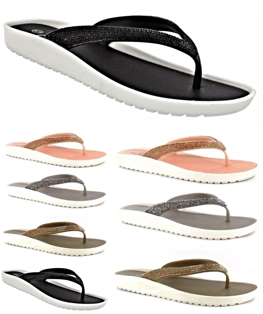 0e81eac7f39c Details about WOMENS LADIES ELLA NEW TOE POST SANDALS LOW WEDGE SPARKLY  FLIP FLOPS SIZE 3 -8