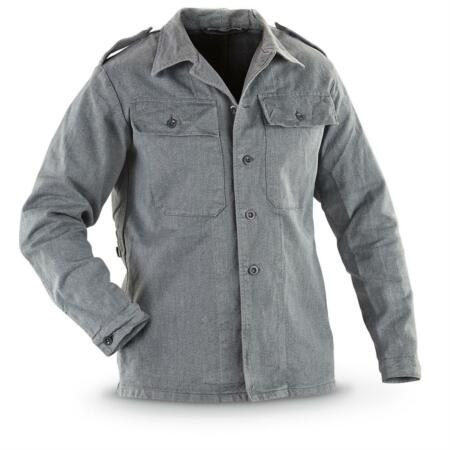 img-Swiss Ex Army Surplus jacket Denim Grey Vintage Work Prison Shirt Vintage