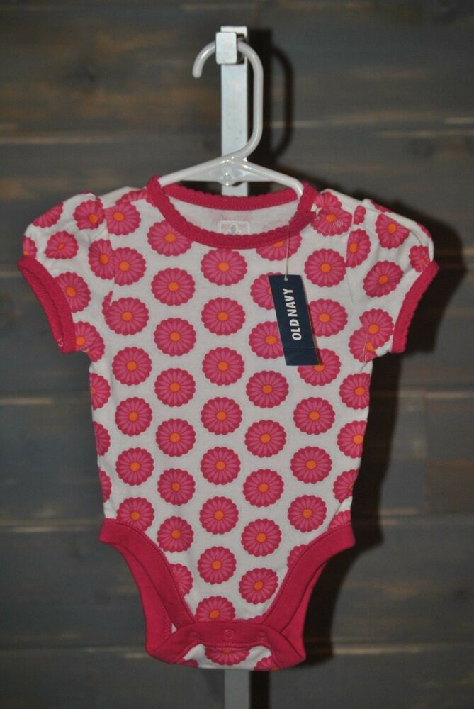 5a282a0ef90 Details about Girl s Old Navy Pink   White Daisy One Piece Romper