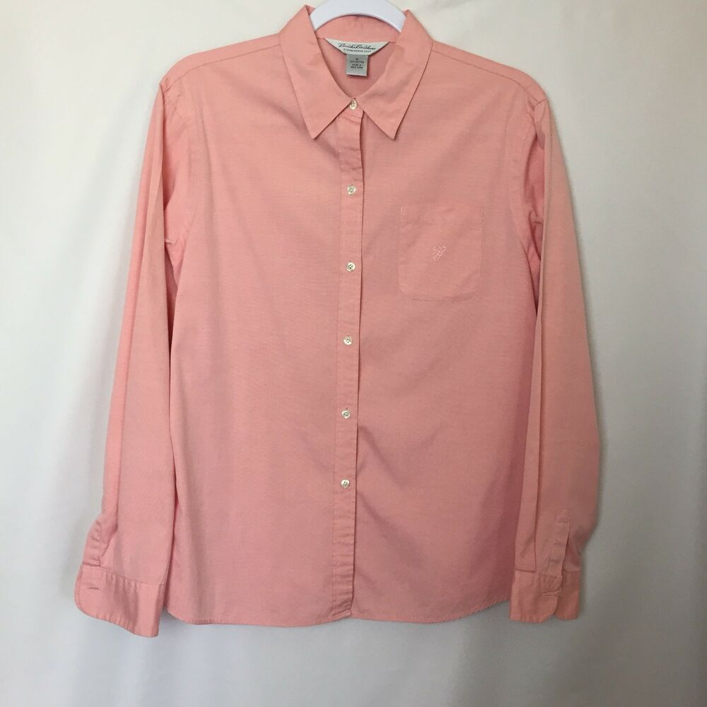 Brooks Brothers Womens Button Down Shirt Salmon Tapered Fit Sz M