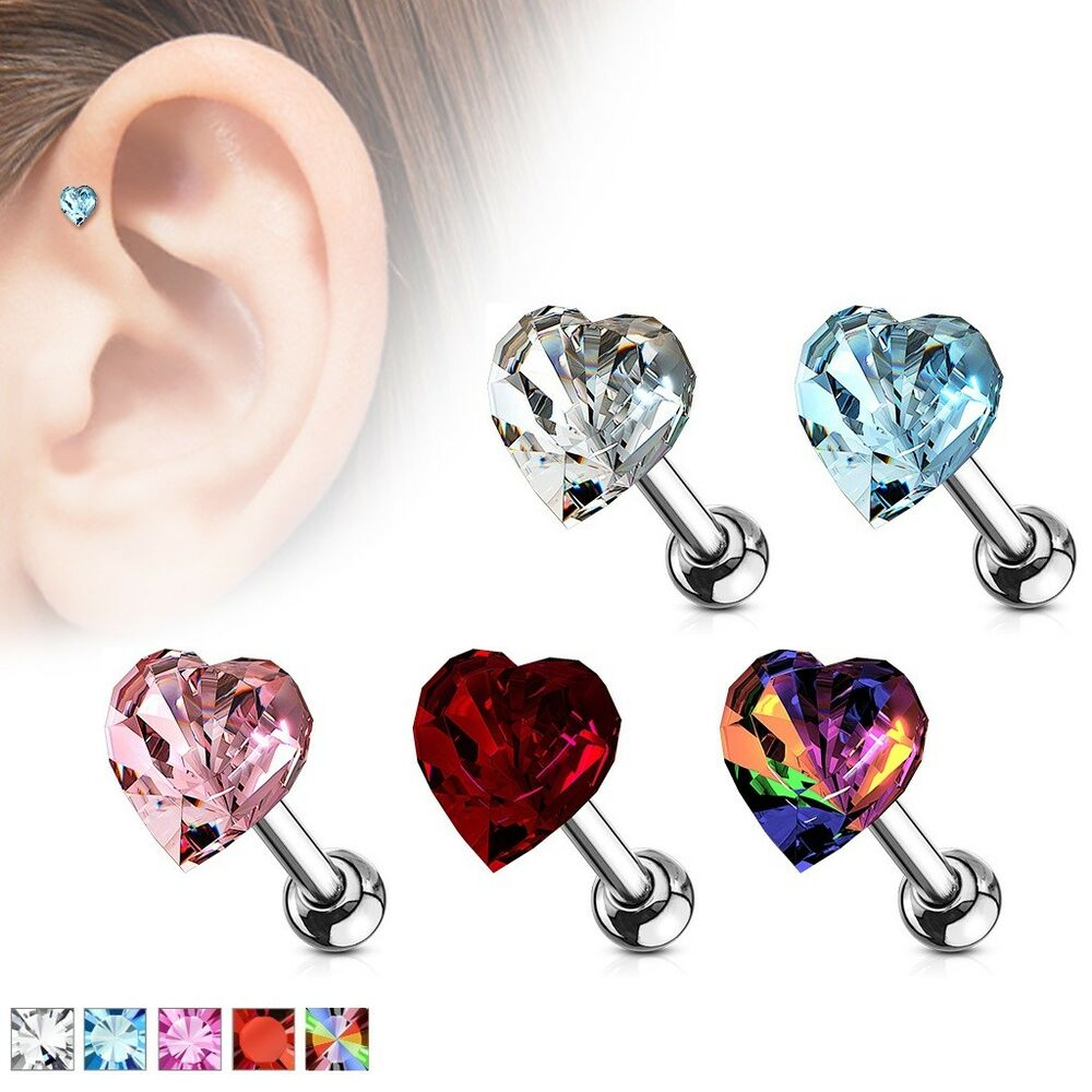 Heart Crystal Studs Cartilage Tragus Helix Conch Auricle Bar Ear